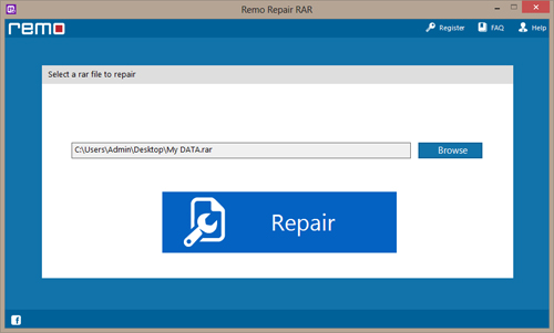 WinRAR Repair - Main screen